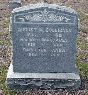 August M. Collignon's grave marker.