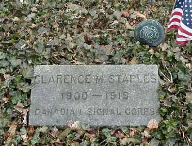 Clarence Staples' grave marker.