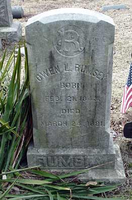 Owen L. Rumsey's grave marker.