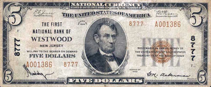 Westwood National Currency (1929).